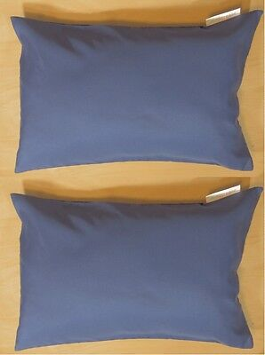 "2 Blue Travel Pillow Cover Case 14X 20"" Pillow Zipper Pillowcase AllerEase New s"