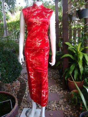 Asia-Miss China Geisha/Cheongsam/Qipao Long-Kleid/Kostüm Dress Rot Gr. - Geisha Kleid Rot Kostüm