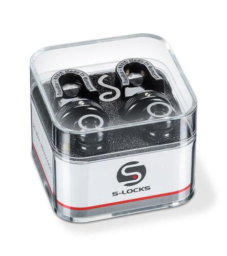Genuine Schaller latest S-Lock Straplock. pair - Black Chrome Made in Germany