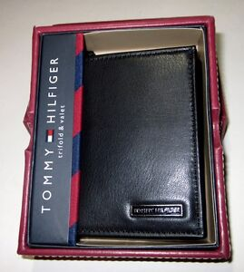 Tommy Hilfiger Men's Leather Trifold ID Wallet Black Tri-Fold Valet Box New