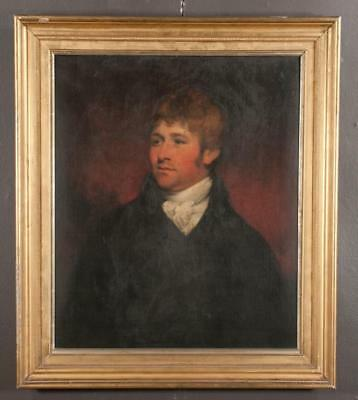 19Th Century Oil Painting On Canvas Portrait Of A Young Man In A Black    Lot 66