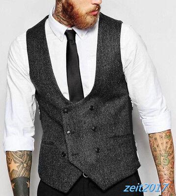 Wams Herren Leinen Tweed Weste Wolle Plain Anzug Hochzeit Formal Tuxedo 4XL - Plain Weste