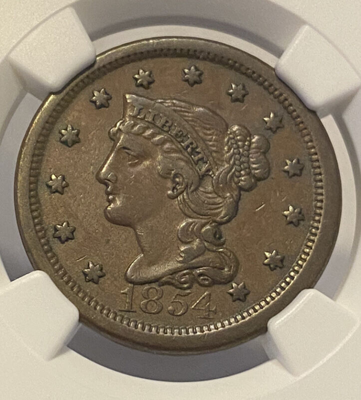1854 NGC Xf45 BN Braided Hair Large One Cent Graded Certified Nice Old Penny