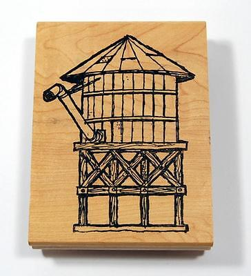 GRAPHIC RUBBER STAMPS Large Wooden Water Tank Storage Container Rubber Stamp