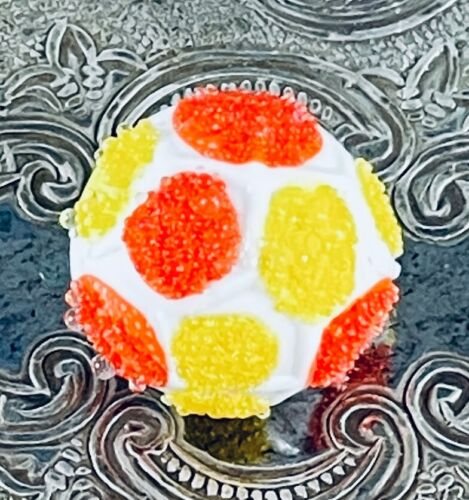 Vintage Plastic Button w/ Coralene on Yellow & Orange Dots, Looks like Candy!