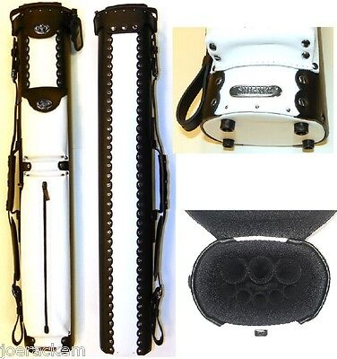 New InStroke Cowboy 3x5 Black & White Leather Pool Cue Case - INSC35BK/WT Black Leather Cowboy Cue Case