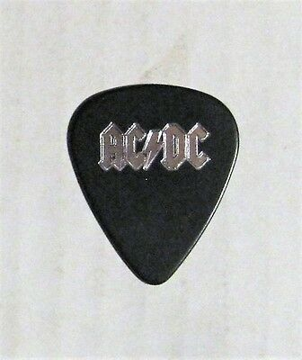 AC/DC RARE VINTAGE 90'S TOUR MALCOLM YOUNG BLACK WITH SILVER LOGO GUITAR PICK