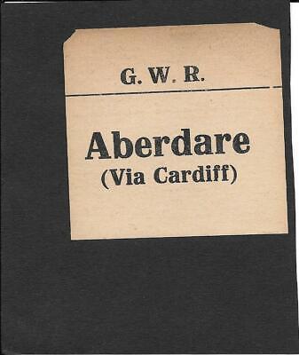 GWR - RAILWAY LUGGAGE LABEL (SQUARE) - ABERDARE / CARDIFF- GREAT WESTERN...