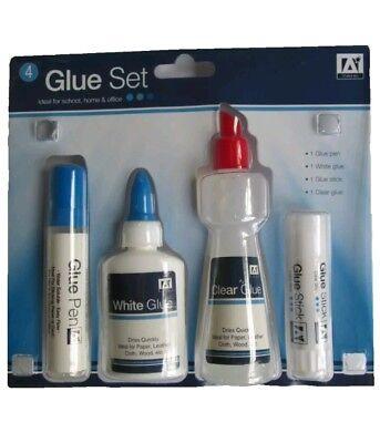 4 PIECE GLUE SET. GLUE STICK -GLUE PEN , WHITE GLUE , & CLEAR GLUE UK