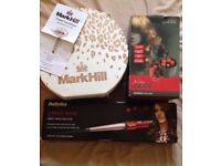Babyliss curling wand, Nicky Clarke compact heat rollers and Mark hill travel hairdryer and case