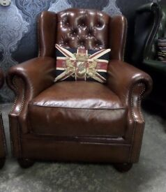 Stunning Chesterfield Tetrad Oskar Wing Back Chair in Brown Leather Two Available - UK Delivery