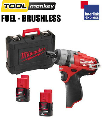 Milwaukee M12CD-202C 12v Fuel Brushless Drill Driver Kit 2x 2.0ah Batteries
