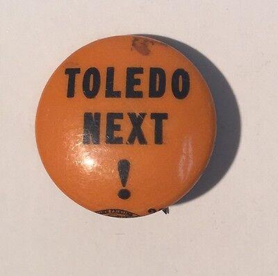 Vintage Toledo Next Political Campaign Button Pin Pinback Celluloid Orange Black