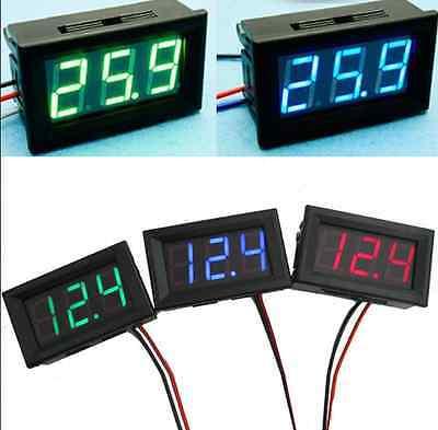 DC 0-30V Red/Blue/Green LED 3-Digital Display Voltage Voltmeter Motorcycle US