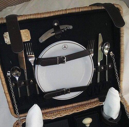 "Mercedes ""G. Daimler"" Picnic Wine Basket for (2) Two:"