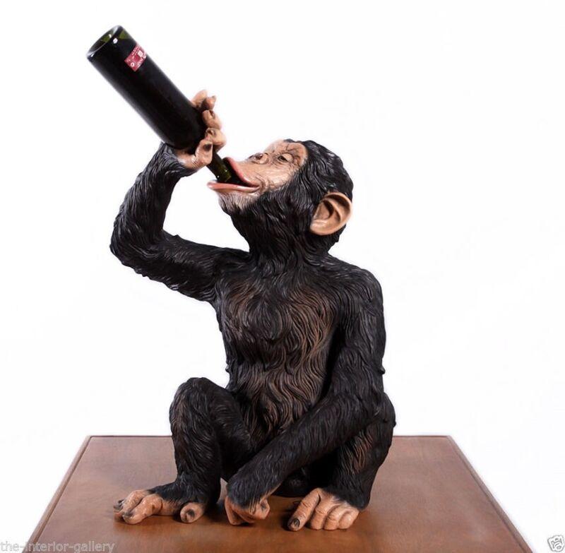 Boozy Chimp Statue Bottle Holder - Chimpanzee Statue - Bottle Holder - Monkey