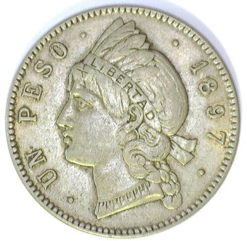 DOMINICAN REPUBLIC 1897A 1 PESO (KM#18) CH AU