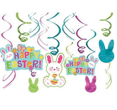 Happy Easter Hanging Swirl Decorations Party Supplies Danglers Bunny ~ 12 ct - Easter Party Supplies