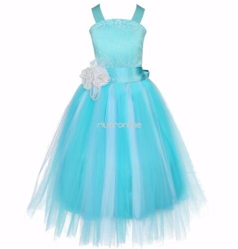 Ball Gown Wedding Dress Material : Princess tulle dress kids party pageant wedding bridesmaid ball gown