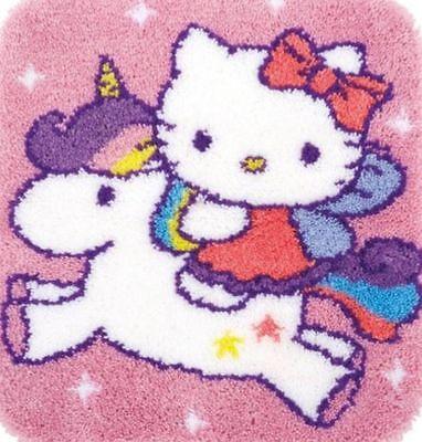 Vervaco Knüpfteppich Kindermotiv  Einhorn Hello Kitty 55x61 cm 1 St KKPN0153316