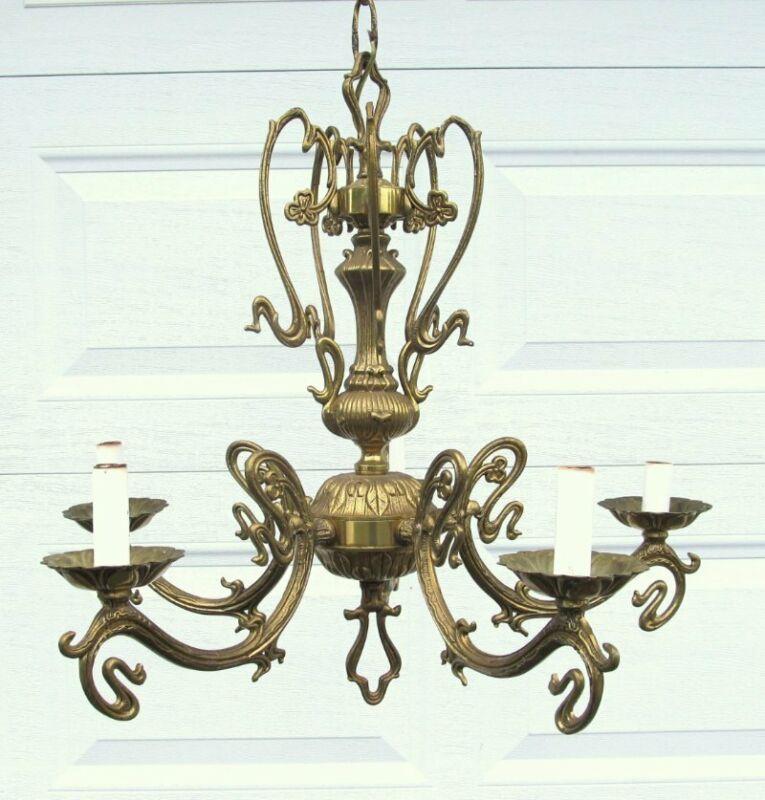 "Vintage Brass French Art Nouveau Style 5 Arm Light Chandelier 22"""