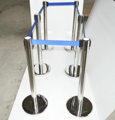 6 Stanchion Posts Queue Pole Retractable Belt Crowd Control Safety #170519