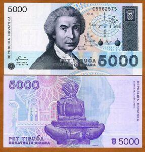 Croatia-5-000-5000-Dinara-1992-P-24-UNC