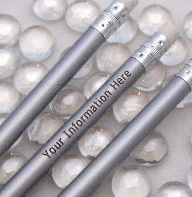 Engraved Pencils (12 - Custom ENGRAVED Regular Pencils - METALLIC )