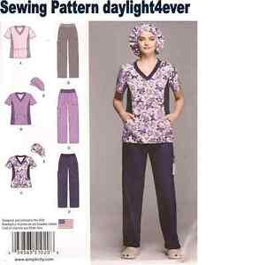 Women Scrubs Top Pants Hat Sewing Pattern 1020 Size 10-18 New 3 Styles #r