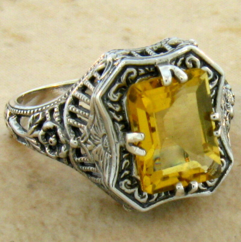 GENUINE CITRINE 2 CARAT ANTIQUE STYLE 925 STERLING SILVER RING SIZE 6.75    #398