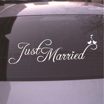 White Just Married Wedding Car Cling Decal Sticker Window Banner Fresh Decor LAZ