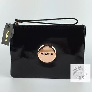 FREE POST MIMCO BLACK ROSE GOLD MEDIUM POUCH WALLET PATENT LEATHER $99.95