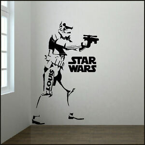 Large personalised 6ft storm trooper star wars starwars for Autocollant mural star wars