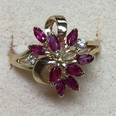 natural (REAL) DIAMOND & ruby Ladies RING solid 14k yellow gold