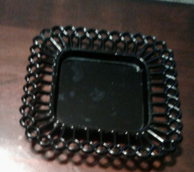 """Vintage Black Glass Plate With Lace Edge Salad Dessert Plate 7 1/8"""" Square"""