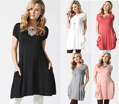 S 3X Womens Loose Trapeze Swing Dress Side Pocket T Shirt Tunic Top Short Sleeve