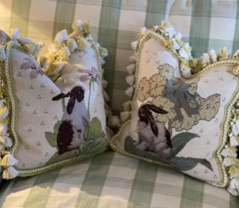 Gorgeous Rare Traditional English Needlepoint Rabbit Botanical Pillow Pair 14x14