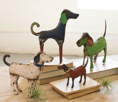Metal Dog Art Sculptures Recycled Scrap Iron Painted Dogs Set of 4