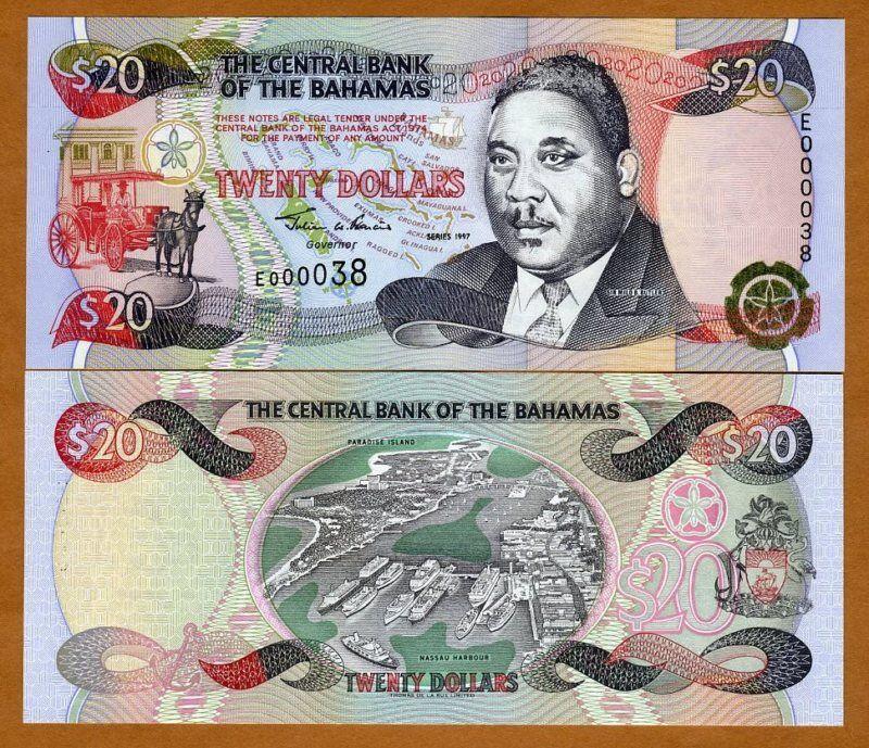 Bahamas, $20, 1997, P-65, Gem UNC