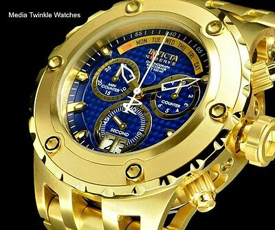 Invicta 52MM Reserve Specialty Subaqua BLUE CARBON Dial GoldTone Bracelet Watch