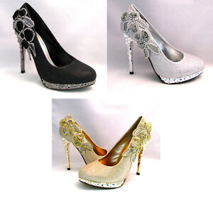 Womens-Pumps-High-Heel-Platform-Stiletto-Glitter-Rhinestone-Flower-Sexy-Shoes