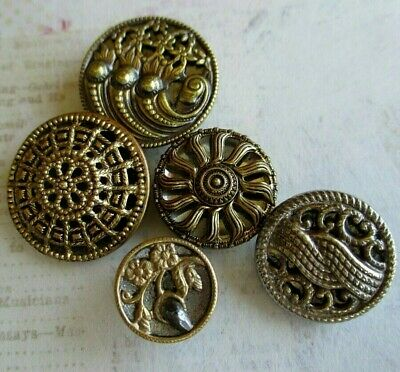 5 Antique Faceted Mirror Back 2-Part Buttons