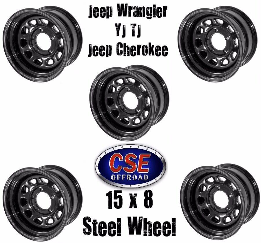 SET OF 5 Black 15x8 D Window Steel Wheels For Jeep