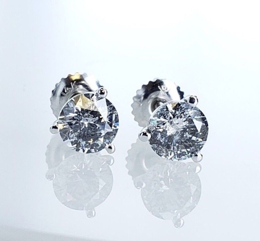 Round Brilliant Diamond studs earrings 1.88ctw GIA Appraisal E Color