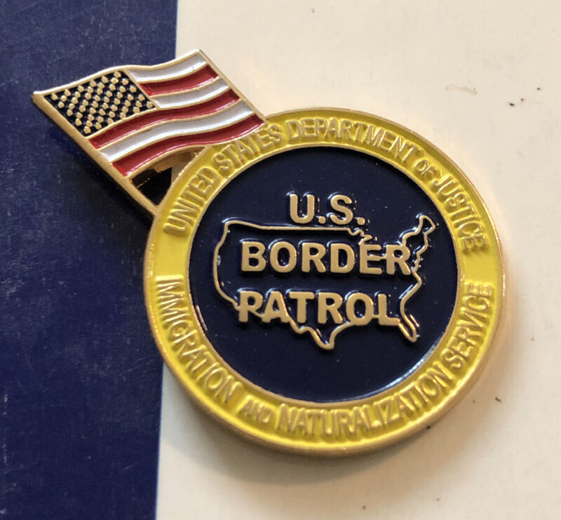 US Border Patrol  Lapel Pin With American Flag. New. Item R585