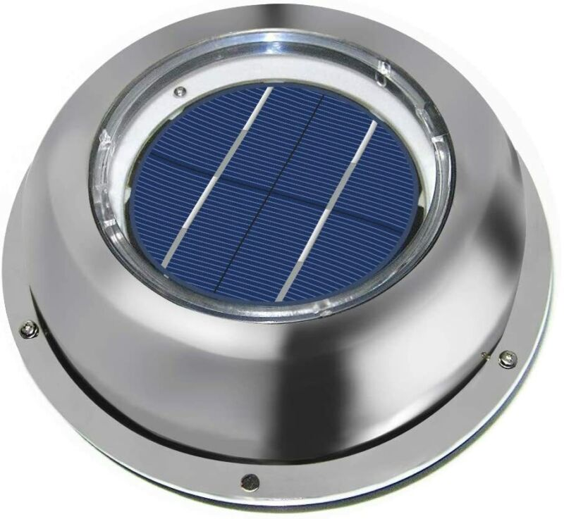 Solar Powered Exhaust Fan Vent Ventilation Stainless Steel f Roof Attic RV Boats