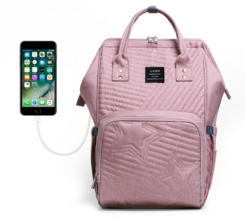 LAND USB Mommy Baby Diaper Bag Nappy Backpack With Stroller