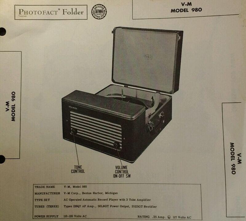 Photofact Folder Sams Tech Info Vtg 1951 V-M Model 980 Record Player