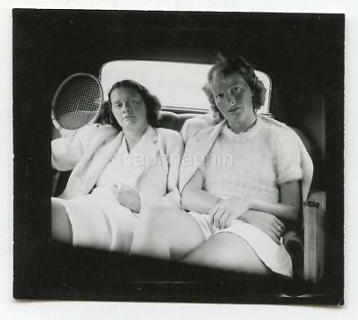 German Tennis Outfit Girls Sit In Car Back Seat Vtg 1930s Photo Bad Cannstatt - German Girl Outfits