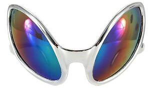 Close Encounter Alien Costume Glasses Sunglasses Silver UFO Mirrored Rainbow Bug